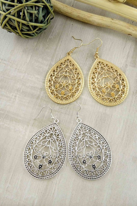 gold dangle earrings+silver dangle earrings
