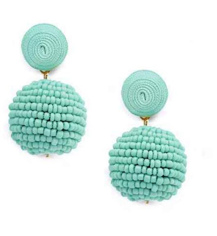 Beaded Love Earrings-Seafoam Blue