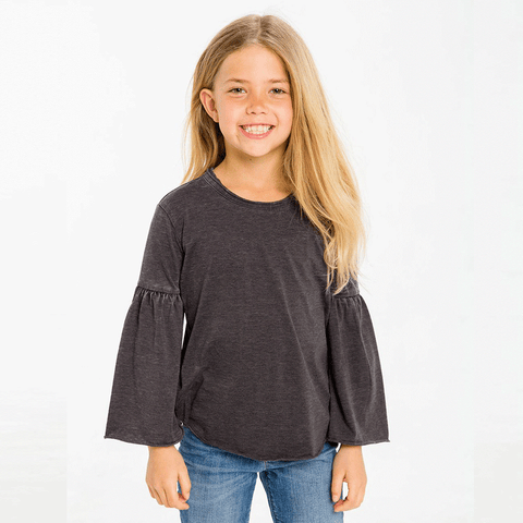 Girls Vintage Jersey Shirttail Pullover with Flared Sleeve