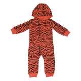 Tiger Stripe Romper in Living Coral