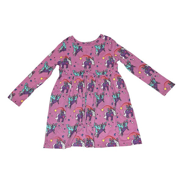 Unicorn Papillon Long Sleeve Dress in Orchid