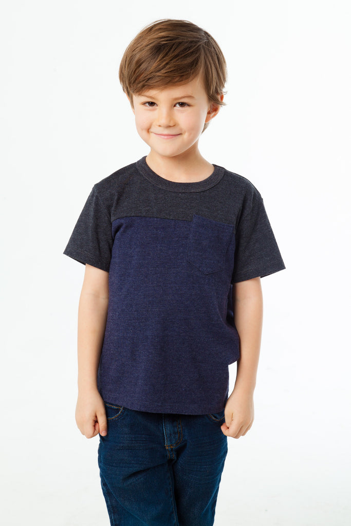 Boys Blocked S/S Crew Neck Tee with Pocket