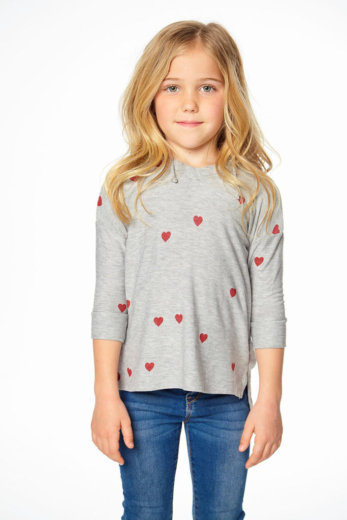 Tiny Hearts Cozy Split Side 3/4 Sleeve Pullover Hoodie