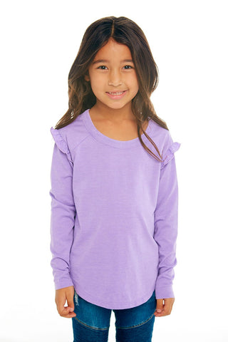 Girls Vintage Jersey Long Sleeve Ruffle Raglan Teee