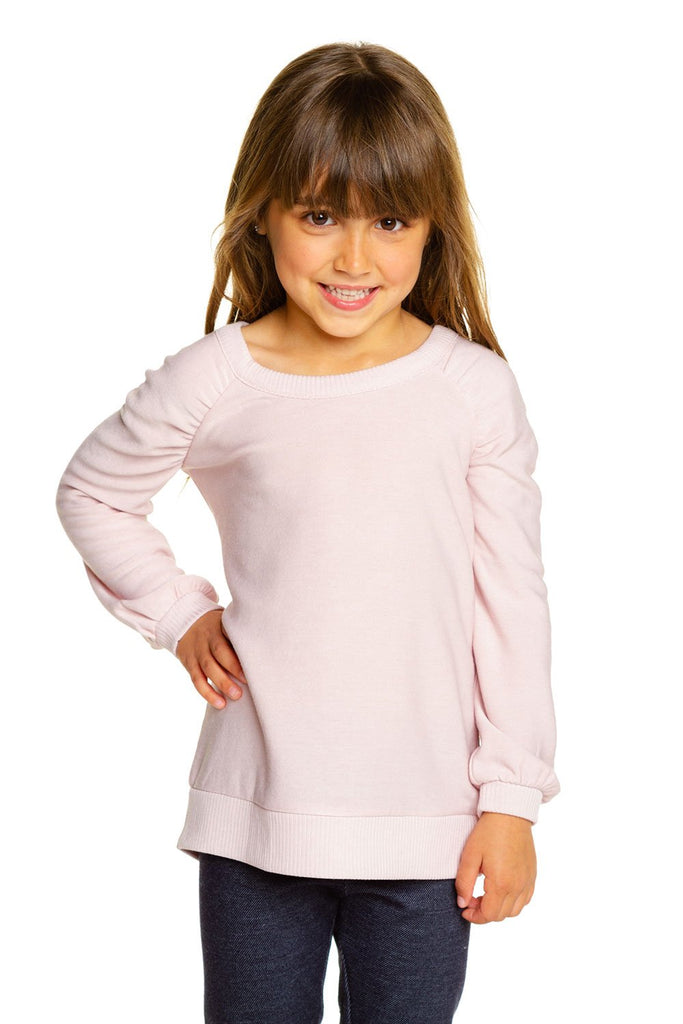 Girls Cozy Knit Puff Long Sleeve Pullover
