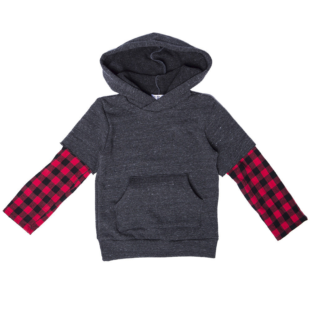 Channing Sweatshirt with Plaid Sleeves