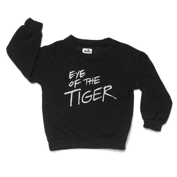Eye of the Tiger Raglan Sweatshirt in Fleece Black