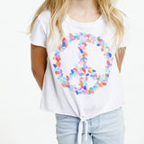 Finger Paint Peace Sign - Vintage Jersey Short Sleeve Tie Front Tee