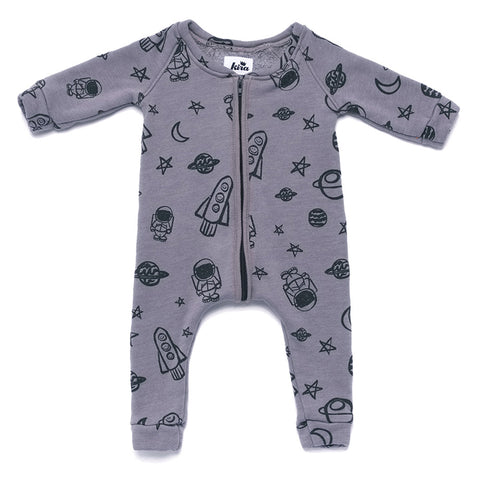 Space Print Sweatshirt Romper Zipper