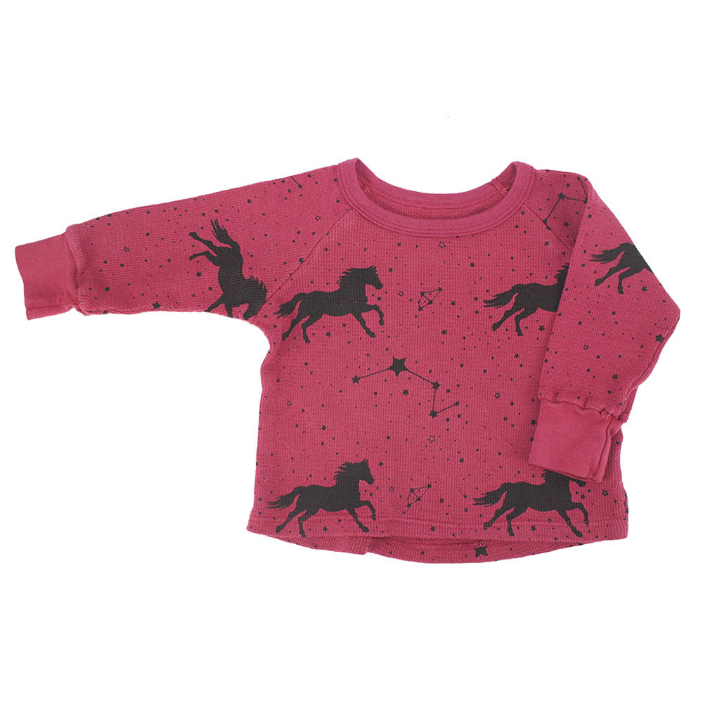 Horse & Star Print Thermal Shirt