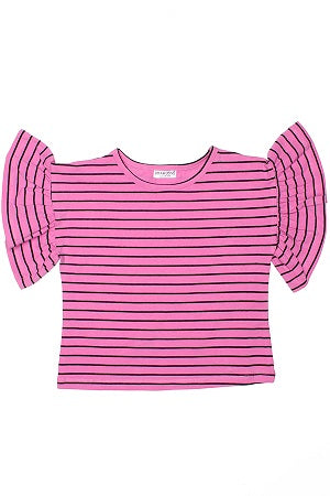 Rona Stripe Ruffle Sleeve Top
