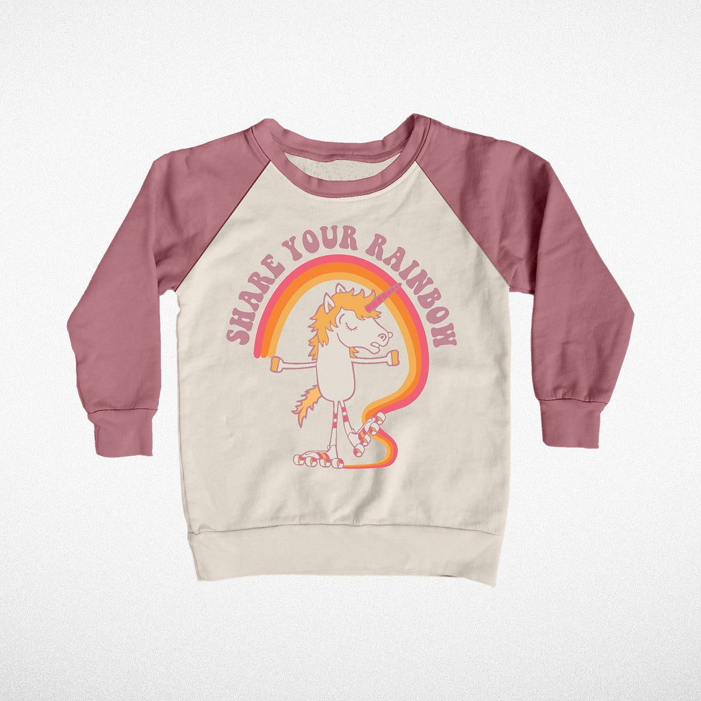 """Share Your Rainbow"" Crew Neck Velour Sleeve Sweatshirt"