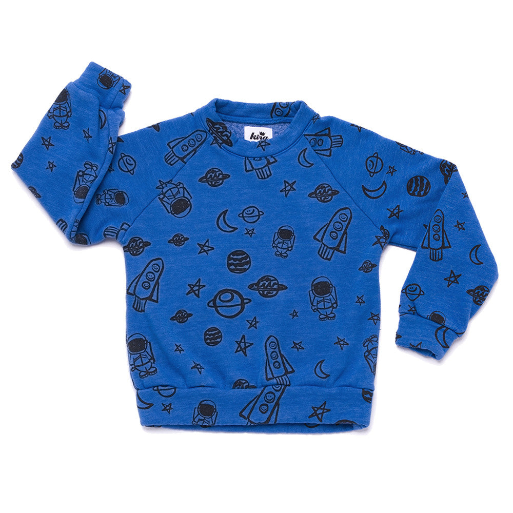 Space Print Raglan Sweatshirt