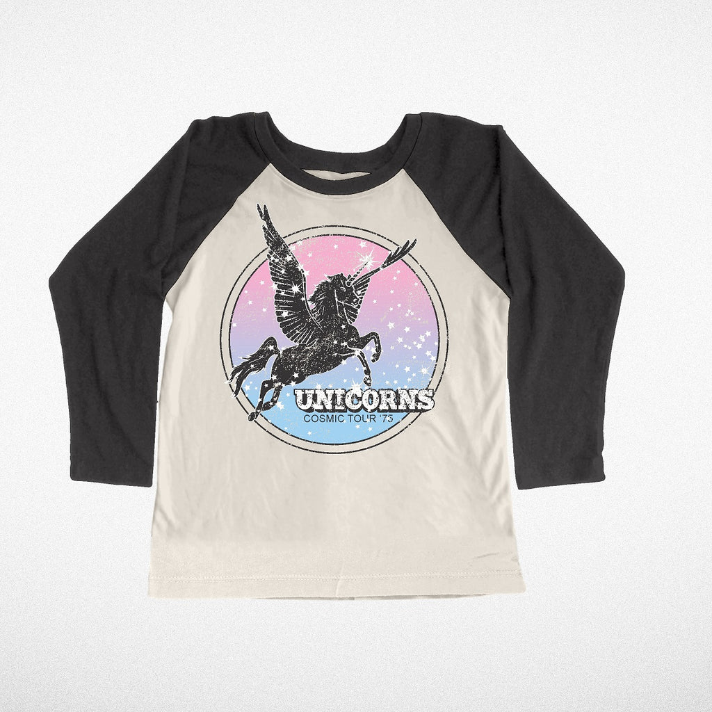 """Unicorns"" Raglan Girls Long Sleeve Tee"