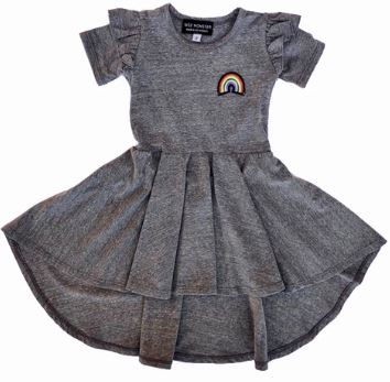 Rainbow Patch Short Sleeve Hi-Lo Dress