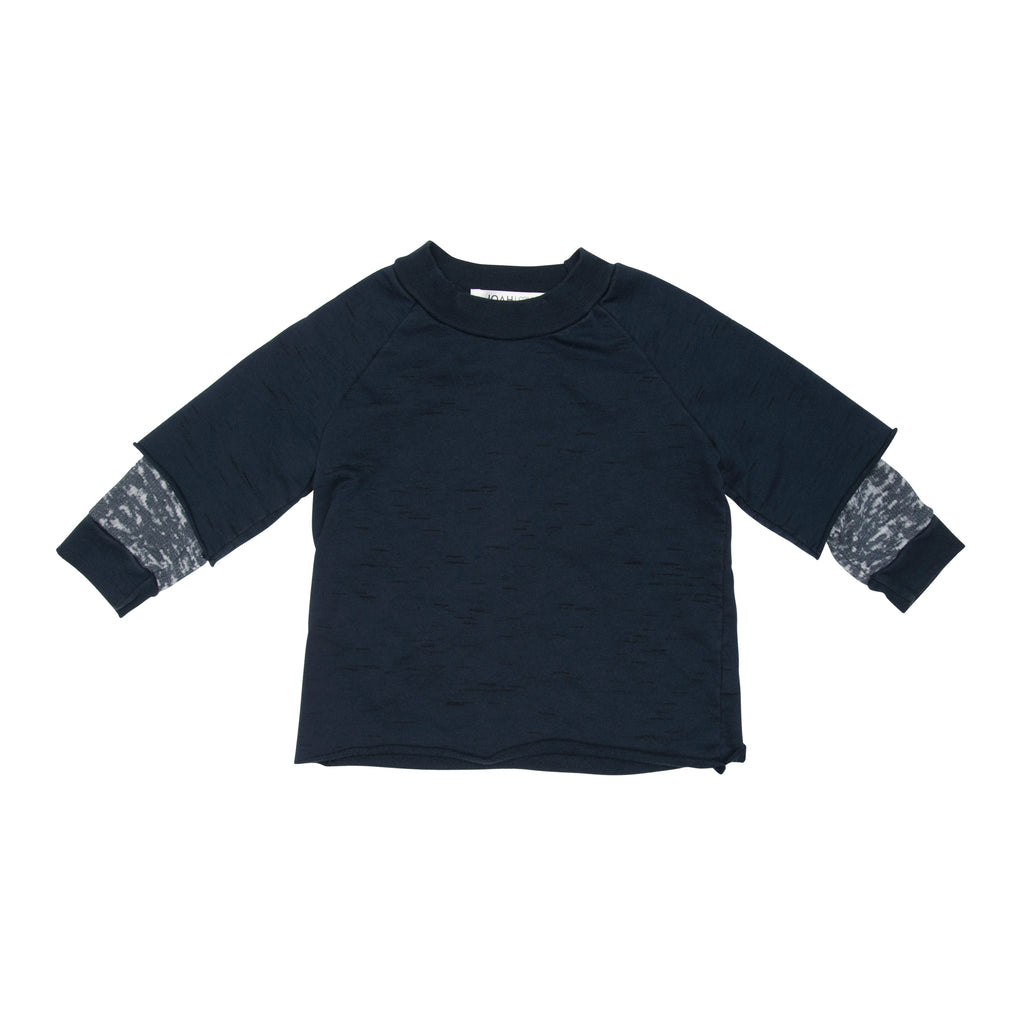 Zach 2-Fer Sweatshirt W/ Burnout Sleeves