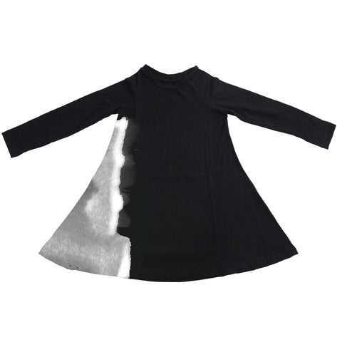 Black Twirly Dress with White Shadow