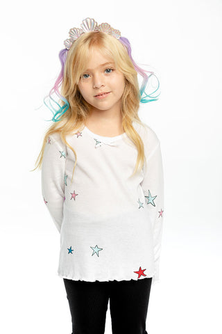 Girls Thermal Long Sleeve Tee in Rainbow Stars