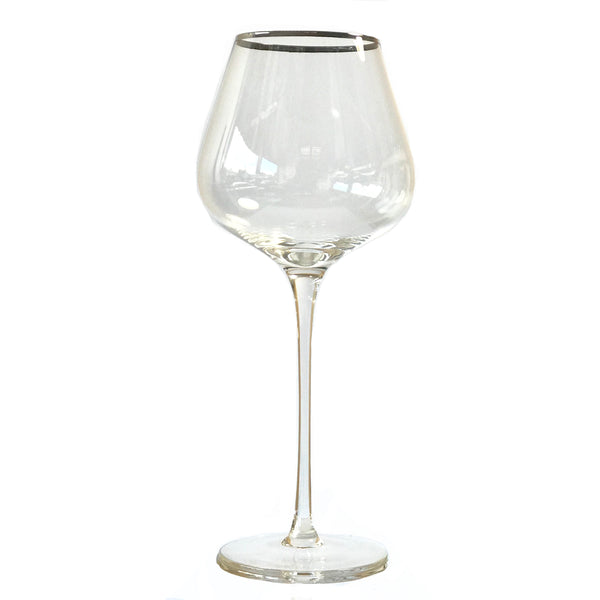 Crystal Red Wine Glass - Clear Silver Rim **Imperfect - the source
