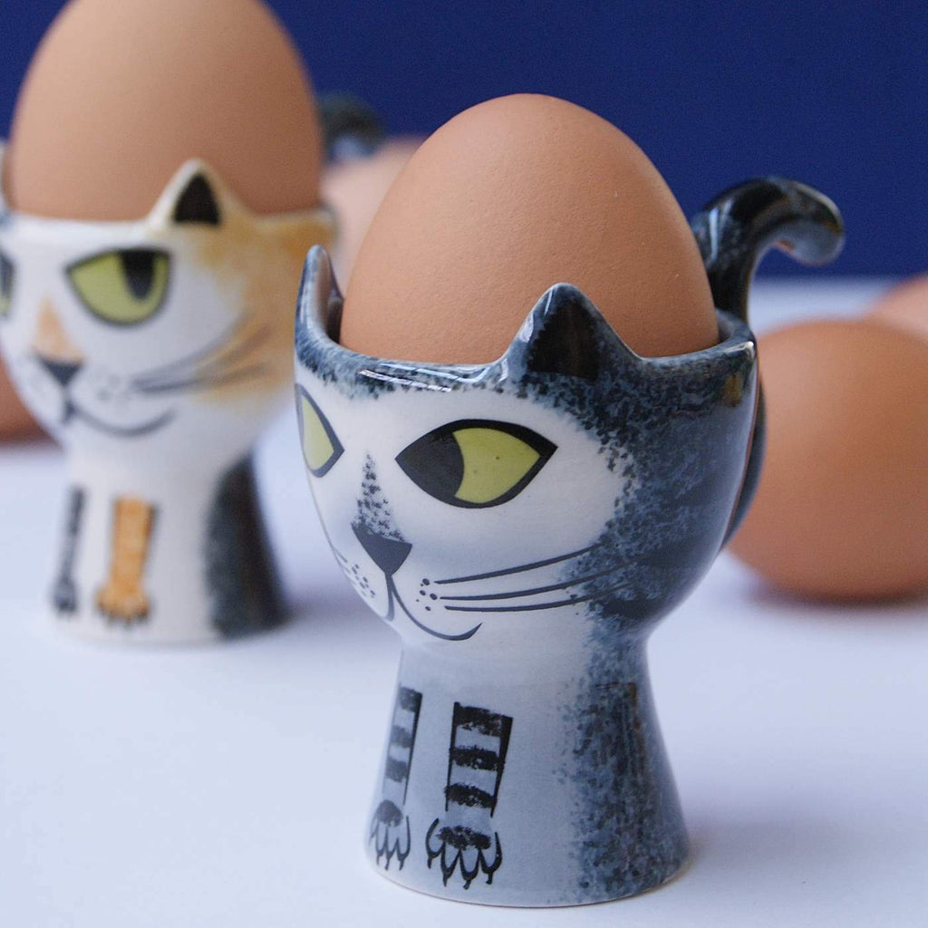 Egg cup Grey Tabby Cat - the source