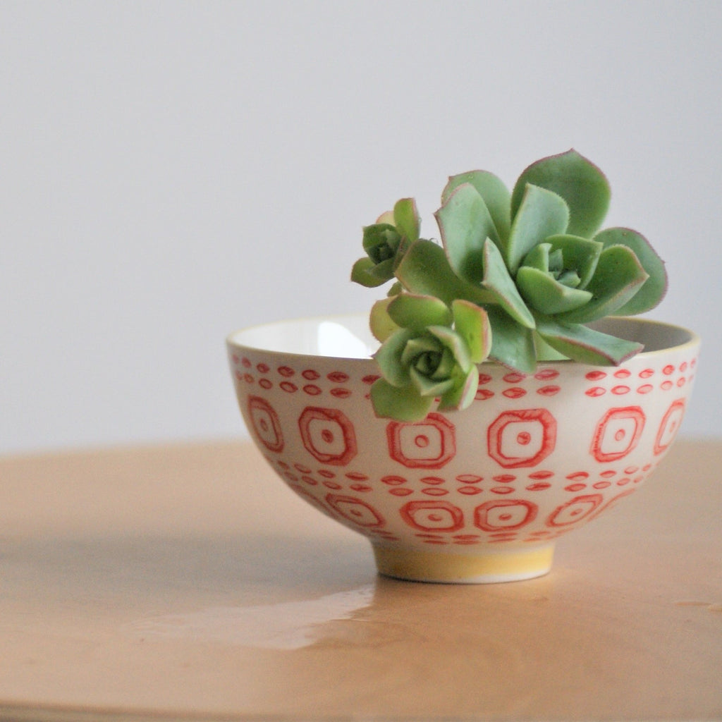 Hand Stamped Bowl S - Red - the source