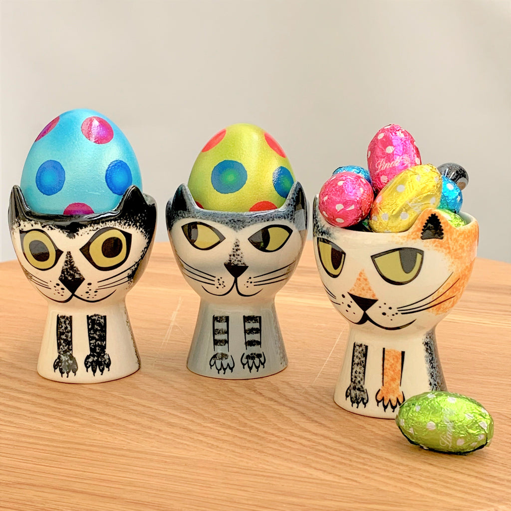 Egg Cup Cat - Black & White - the source