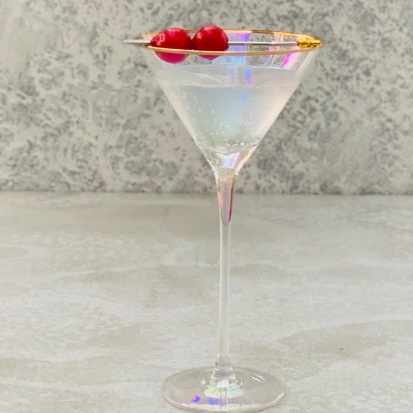 Crystal Martini Glass - Pearl lustre & Gold Trim - the source