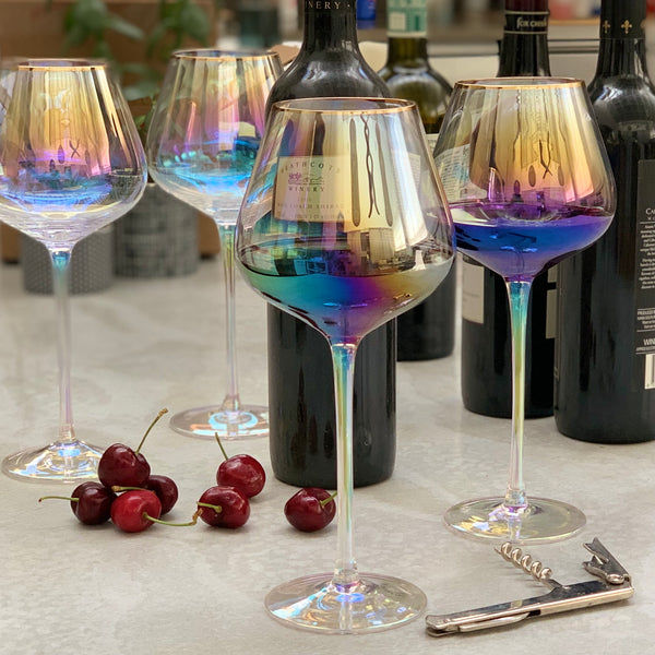 Crystal Wine Glass - Pearl Lustre & Gold Trim - the source