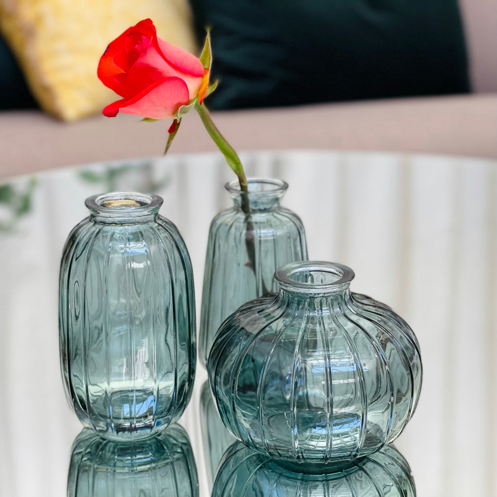 3 Posy Vases - Blue - the source