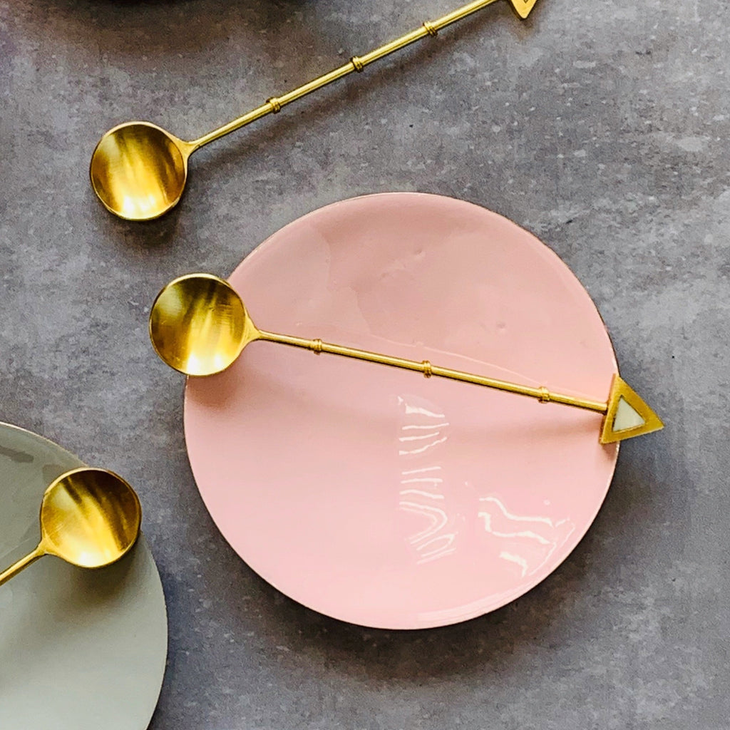 Brass Dish - Enamel Pink - the source