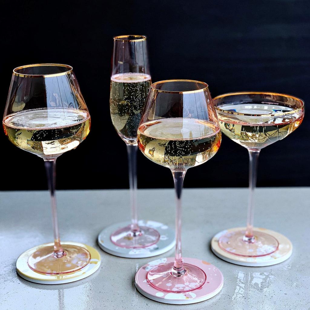 Crystal White Wine Glass - Pink Gold Trim - the source
