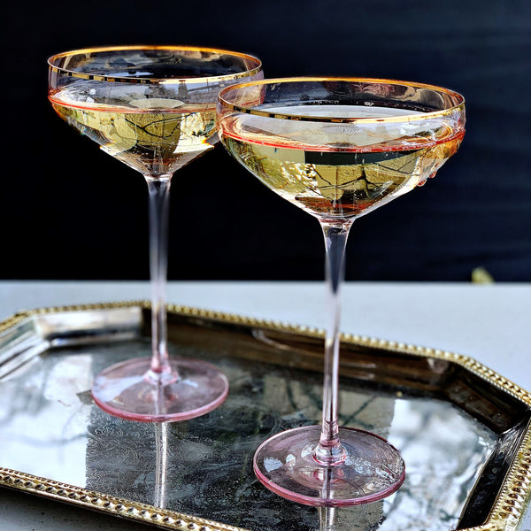 Crystal Champagne Martini Coupe - Pink Gold Trim - the source