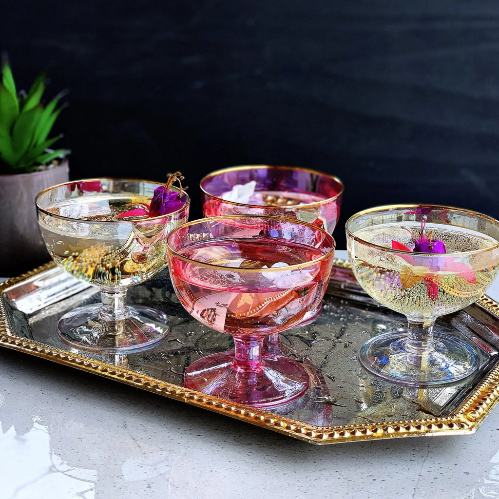 Lustre Footed Bowls - Pink - the source