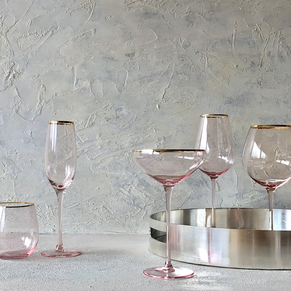 Crystal Wine Glass -  Pink Gold Trim - the source