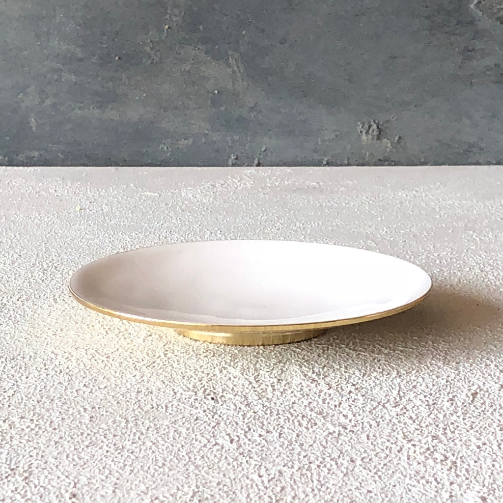 Brass Dish - Enamel White - the source