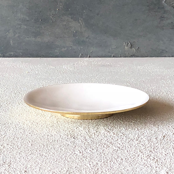 Brass dish with enamel White - the source