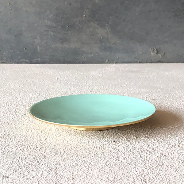 Brass dish with enamel Mint - the source