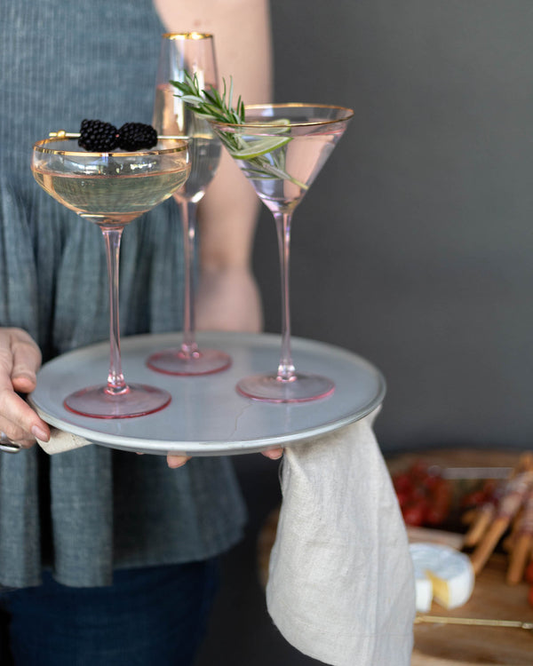Crystal Martini Glass - Pink & Gold Trim - the source
