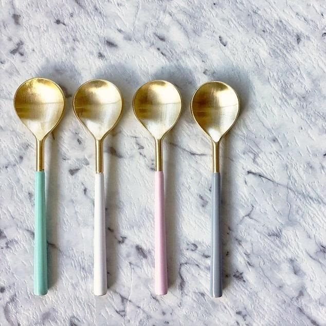 Enamel Handle Brass Spoons - 4 Set - the source