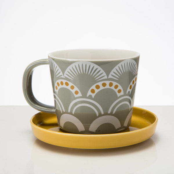 Vintage Pattern Cup & Saucer - Mist - the source