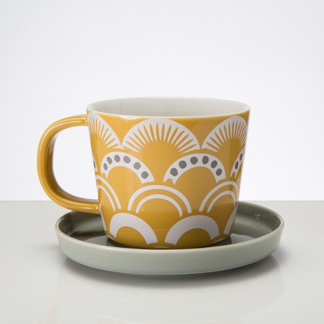 Vintage Pattern Cup & Saucer - Amber - the source