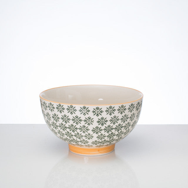 Hand Stamped Bowl L - Green - the source