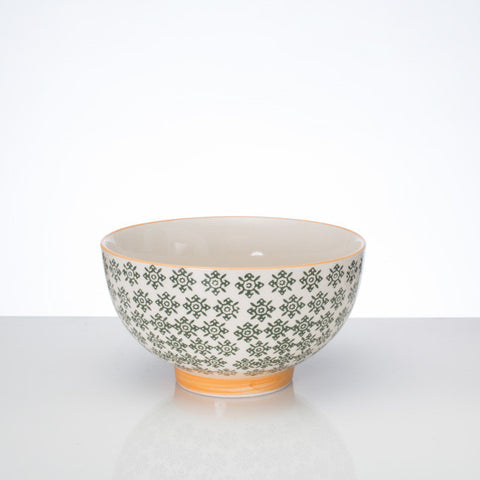 Hand-stamped bowl green Lg - the source