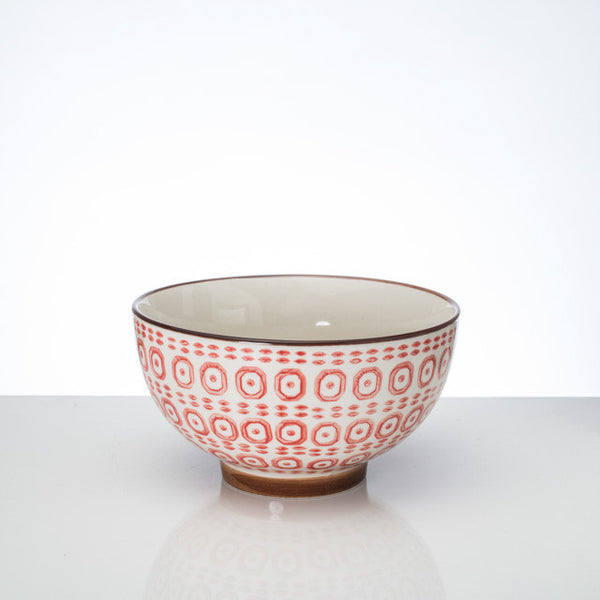 Hand-stamped bowl red Lg - the source