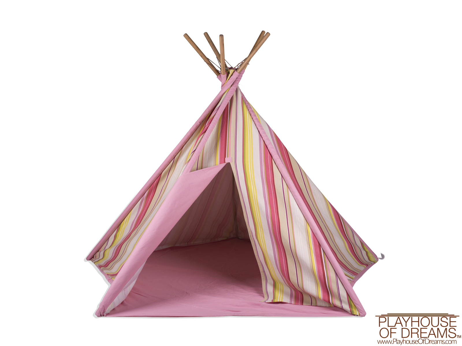 Striation Pink Tee Pee - Pacific Play Tent - Playhouse of Dreams  - 5