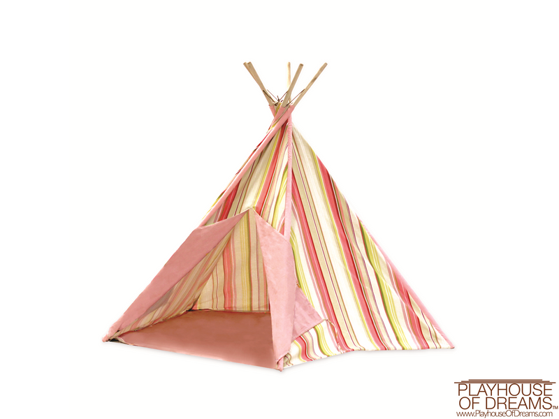 Striation Pink Tee Pee - Pacific Play Tent - Playhouse of Dreams  - 1