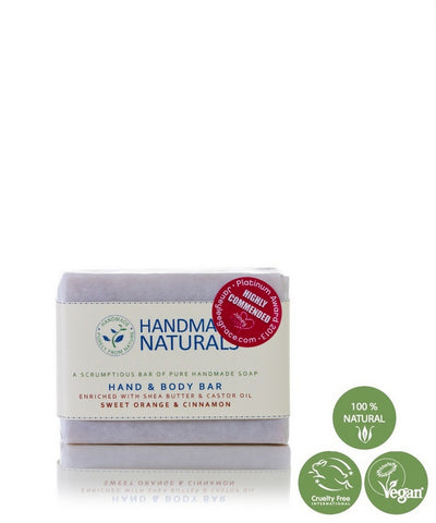 Handmade Naturals – Handmade Shea Butter & Castor Oil HAND & BODY SOAP with Sweet Orange & Cinnamon 100g | Handmade Naturals 初榨乳木果油•蓖麻油 – 手部及身體手工香皂 (含甜橙和肉桂)100g