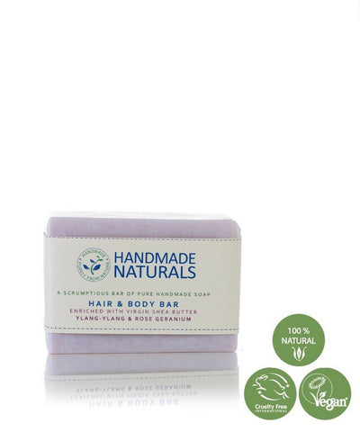 Handmade Naturals - Handmade Virgin Shea Butter HAIR & BODY SOAP BAR with Ylang-Ylang & Rose Geranium 100g | Handmade Naturals 初榨乳木果油 – 頭髮和身體手工香皂 (含依蘭依蘭和玫瑰天竺葵) 100g