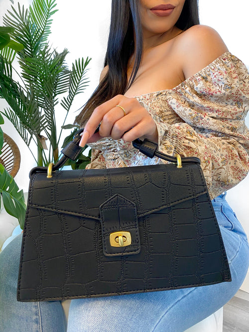 black bag, gold tone, fully lined