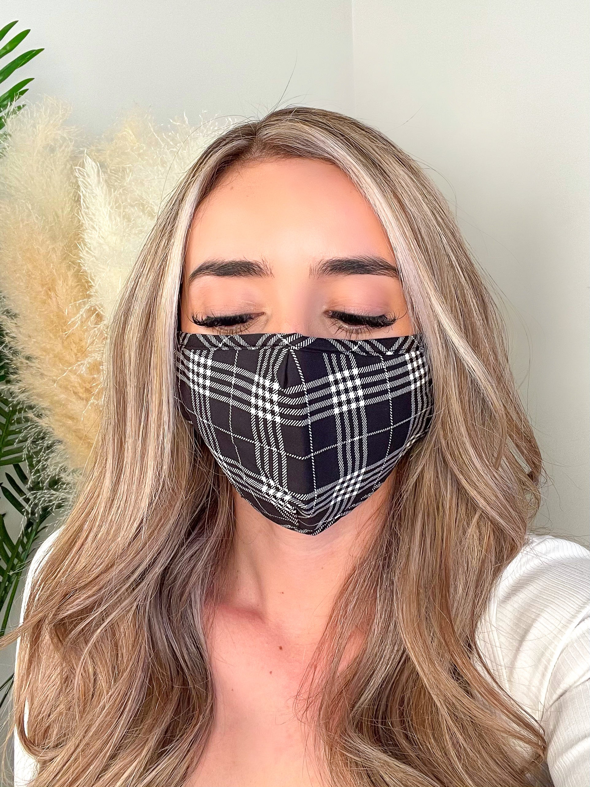 black face mask, plaid face mask, black and white face mask